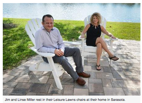 Jim and Linse Miller rest in their Leisure Lawns chairs at their home in Sarasota.