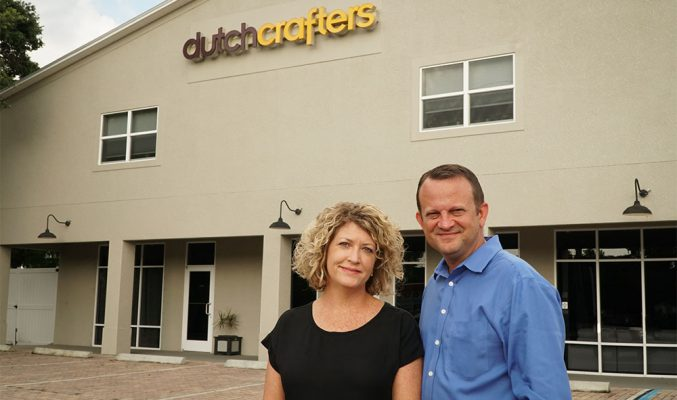 Linse and Jim Miller in front of DutchCrafters Showroom in Sarasota