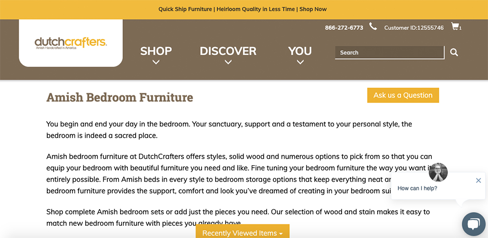 DutchCrafters' Category Page Example with Chat Box