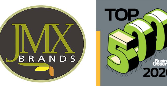JMX Brands Logo and Top 500 2020 Logo
