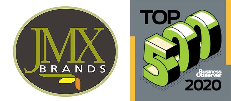JMX Brands Logo and Top 500 2020 Logo