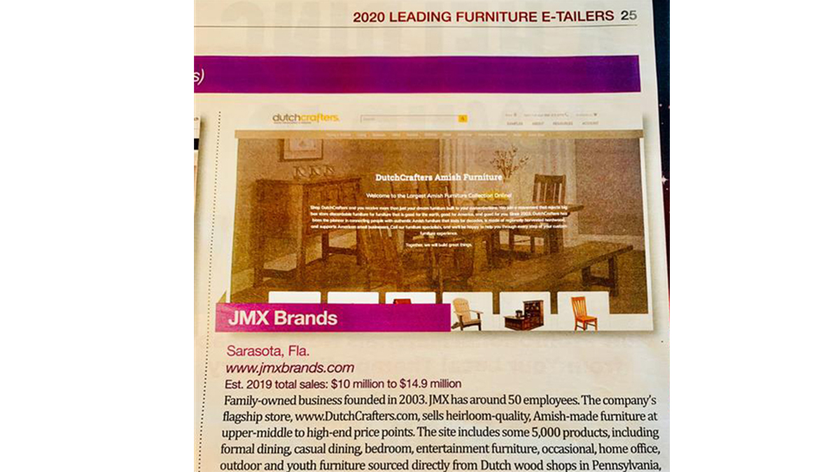JMX Brands Furniture Today Leading Etailer Press Clipping