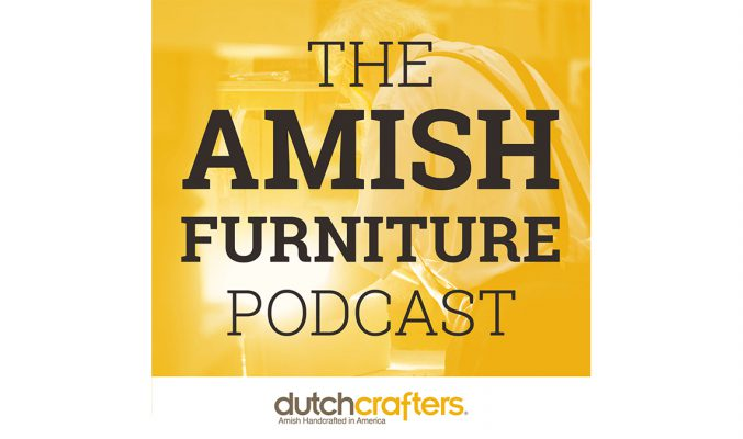 The gold and brown logo of the Amish Furniture Podcast with image of Amish woodworker in the background.