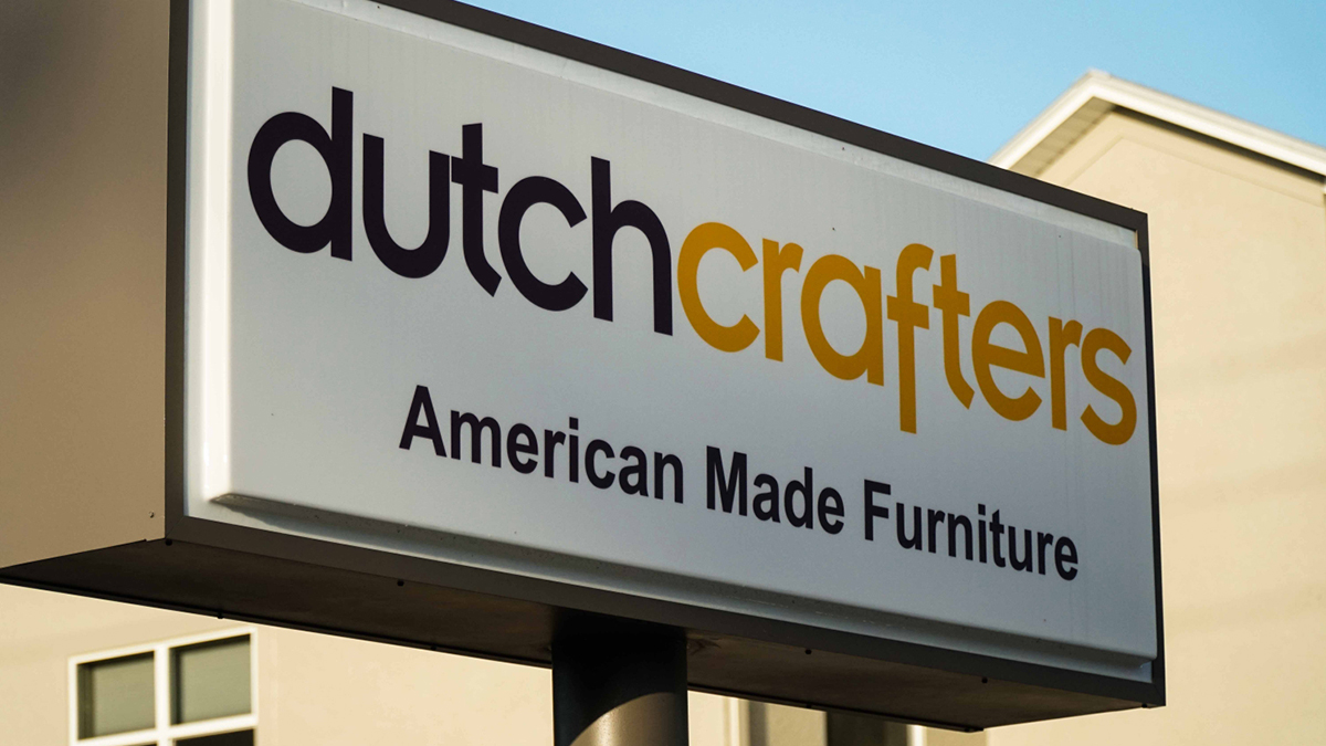 The DutchCrafters sign outside of the company's showroom in Sarasota